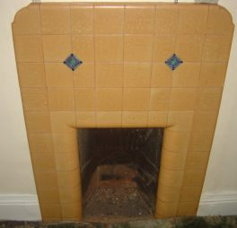 1920s or 1930s tiled bedroom fireplace